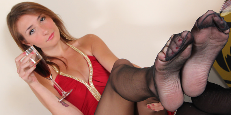 Picture of a girl with sexy nylon feet